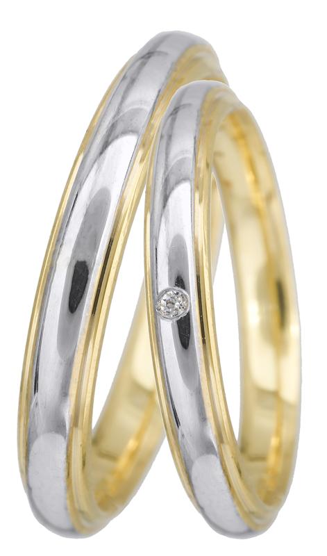 Βέρες γάμου δίχρωμες Κ14 BRS0938PD BRS0938PD Χρυσός 14 Καράτια