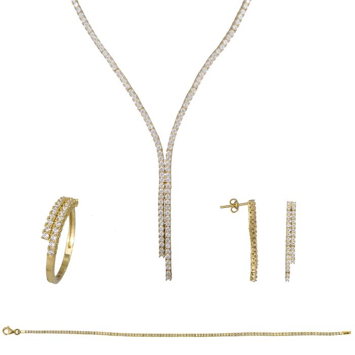 Σετ σειρέ ίσιο γραβάτα με ζιργκόν χρυσό 14Κ SET023794 SET023794 Χρυσός 14 Καράτια