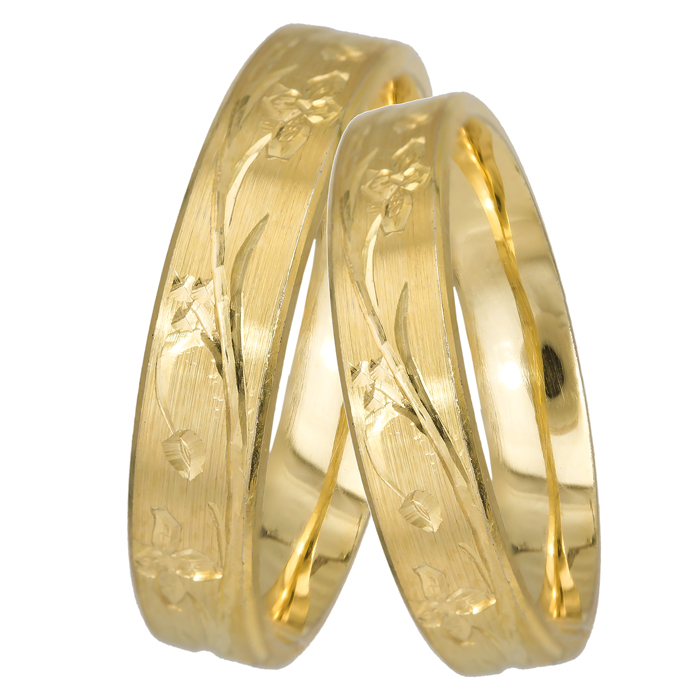 Σκαλιστές βέρες BRS0500K Χρυσός 14 Καράτια