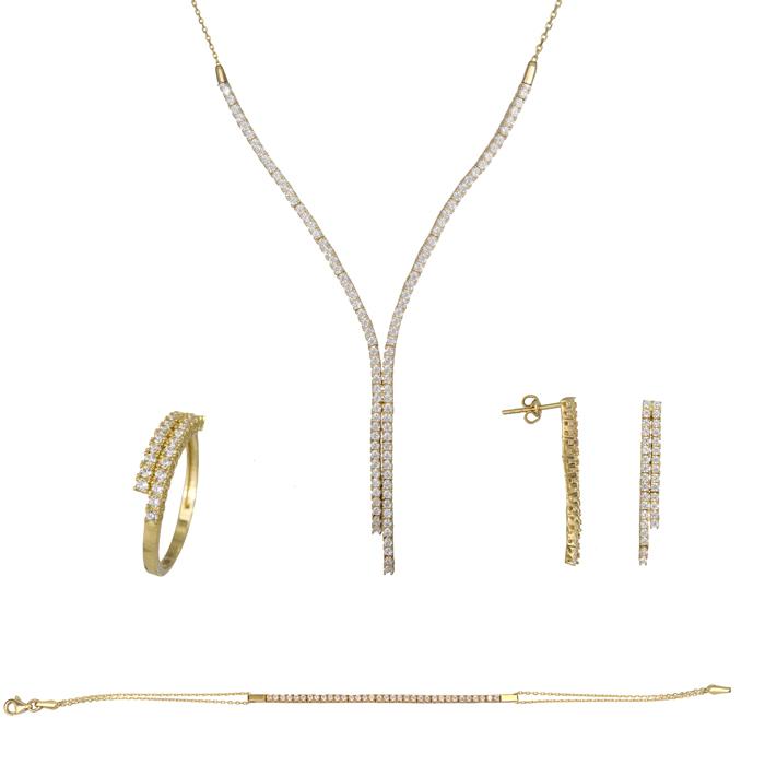 Σετ σειρέ ίσιο γραβάτα με αλυσίδα χρυσό 14Κ SET023789 SET023789 Χρυσός 14 Καράτια