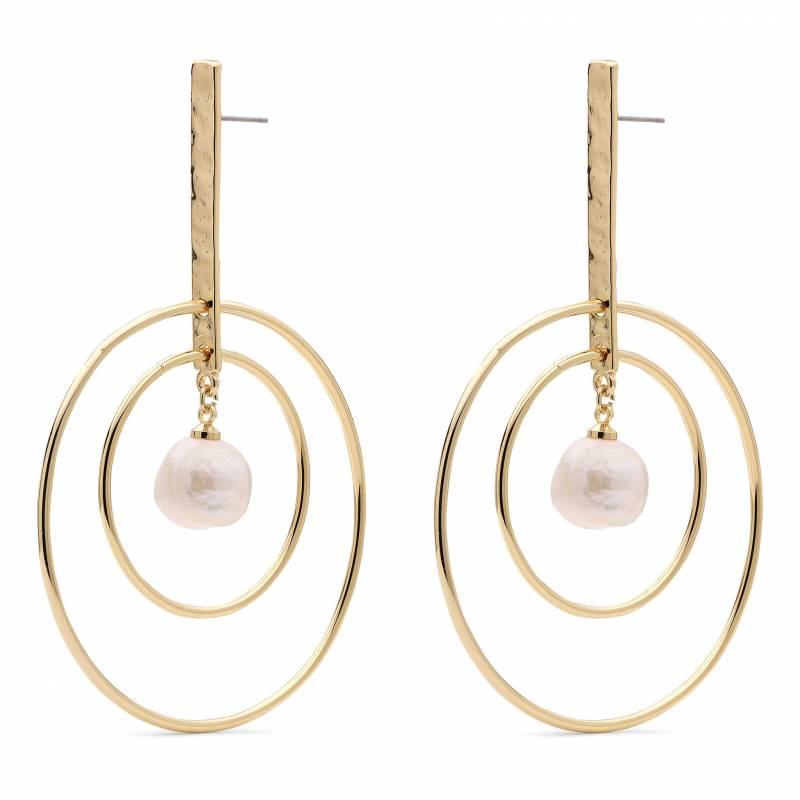 Κρεμαστά σκουλαρίκια με μαργαριτάρι στο κέντρο 101912033 101912033 Ορείχαλκος