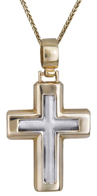 Βαπτιστικοί Σταυροί με Αλυσίδα Δίχρωμος σταυρός Κ14 C011131 011131C Ανδρικό Χρυσός 14 Καράτια