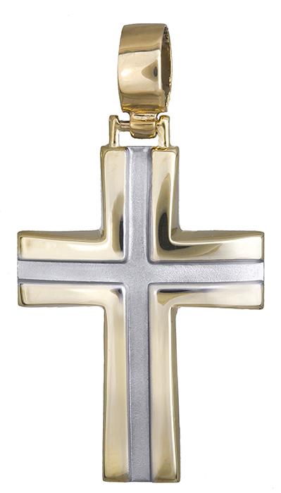 Σταυροί Βάπτισης - Αρραβώνα Δίχρωμος σταυρός 9Κ 013528 013528 Παιδικό Ανδρικό Χρυσός 9 Καράτια