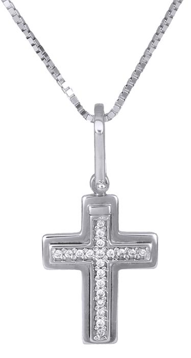 Βαπτιστικοί Σταυροί με Αλυσίδα Λευκόχρυσος σταυρός 18Κ με διαμάντια 011310 01131 σταυροί βάπτισης   γάμου βαπτιστικοί σταυροί με αλυσίδα