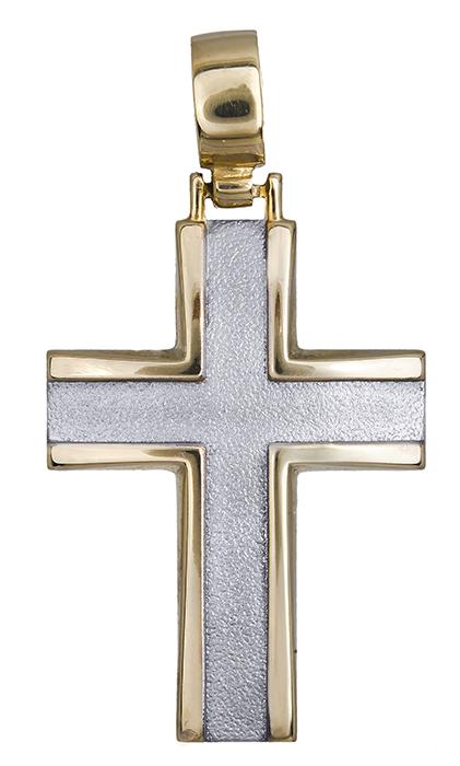 Σταυροί Βάπτισης - Αρραβώνα Δίχρωμος σταυρός 9Κ 013821 013821 Ανδρικό Χρυσός 9 Καράτια