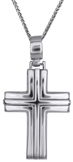 Βαπτιστικοί Σταυροί με Αλυσίδα Λευκόχρυσος σταυρός 9Κ C013822 013822C Ανδρικό Χρυσός 9 Καράτια