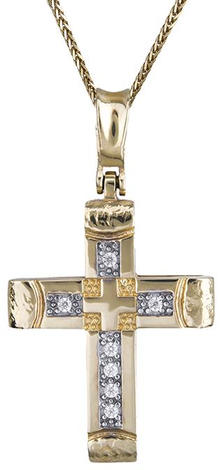 Βαπτιστικοί Σταυροί με Αλυσίδα Χρυσός σταυρός 14κ με αλυσίδα 011527C Γυναικείο Χ σταυροί βάπτισης   γάμου βαπτιστικοί σταυροί με αλυσίδα