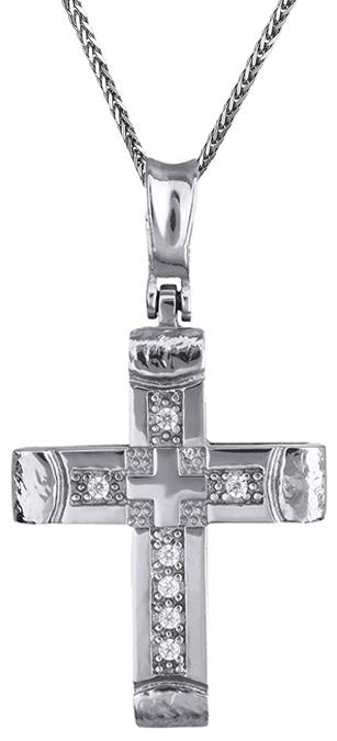 Βαπτιστικοί Σταυροί με Αλυσίδα Γυναικείοι σταυροί λευκόχρυσοι Κ14 C011528 011528C Γυναικείο Χρυσός 14 Καράτια