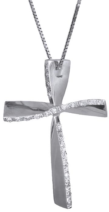 Βαπτιστικοί Σταυροί με Αλυσίδα Λευκόχρυσος σταυρός με διαμάντια 18Κ 011722 011722 Γυναικείο Χρυσός 18 Καράτια