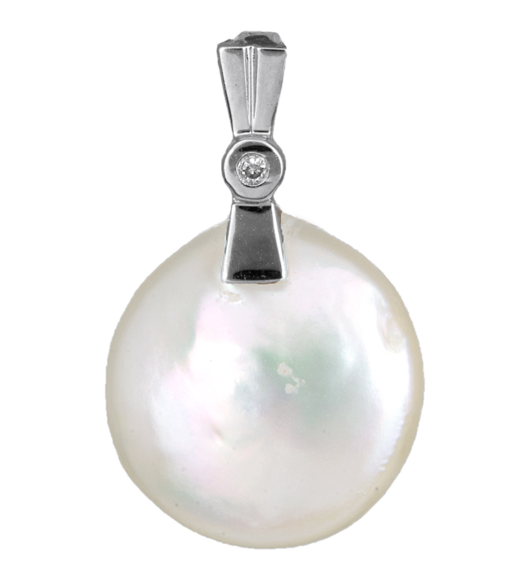 Κρεμαστό 18 καρατίων με μαργαριτάρι και διαμάντι 012028 012028 Χρυσός 14 Καράτια