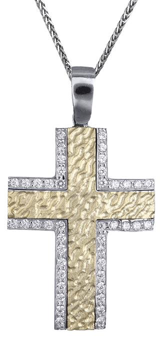 Βαπτιστικοί Σταυροί με Αλυσίδα Σταυρός δίχρωμος 14Κ με καδένα 012180C Γυναικείο Χρυσός 14 Καράτια