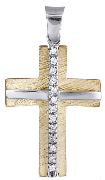 Σταυροί Βάπτισης - Αρραβώνα Δίχρωμος Σταυρός 9Κ 014289 Γυναικείο Χρυσός 9 Καράτια