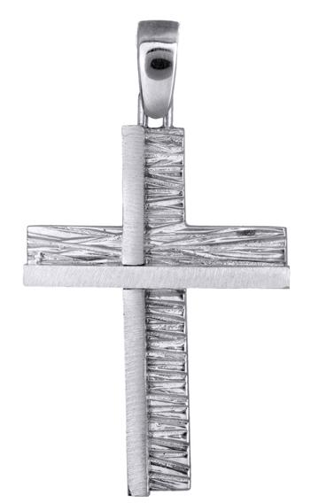 Σταυροί Βάπτισης - Αρραβώνα Αντρικός σταυρός λευκόχρυσος Κ9 013820 013820 Ανδρικό Χρυσός 9 Καράτια
