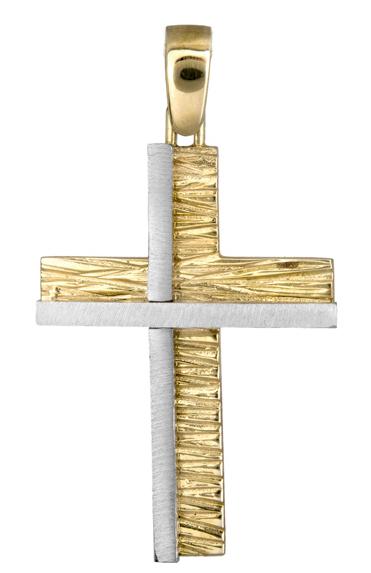 Σταυροί Βάπτισης - Αρραβώνα Δίχρωμος Σφυρήλατος Σταυρός 9Κ 013924 013924 Ανδρικό Χρυσός 9 Καράτια
