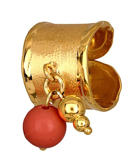 Σεβαλιέ επίχρυσο δαχτυλίδι 925 με χαντρούλα 014888 014888 Ασήμι