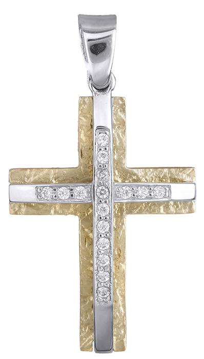 Σταυροί Βάπτισης - Αρραβώνα Δίχρωμος Πετράτος Σταυρός Κ9 014851 Γυναικείο Χρυσός 9 Καράτια
