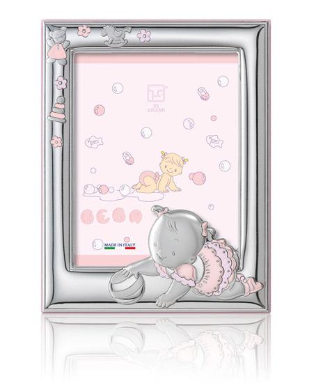 Παιδική κορνίζα ροζ ασημένια 018462 018462 Ασήμι