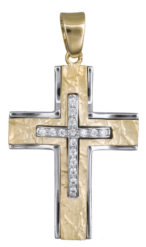 Σταυροί Βάπτισης - Αρραβώνα Γυναικείος σταυρός με ζιργκόν 14Κ 017857 017857 Γυναικείο Χρυσός 14 Καράτια