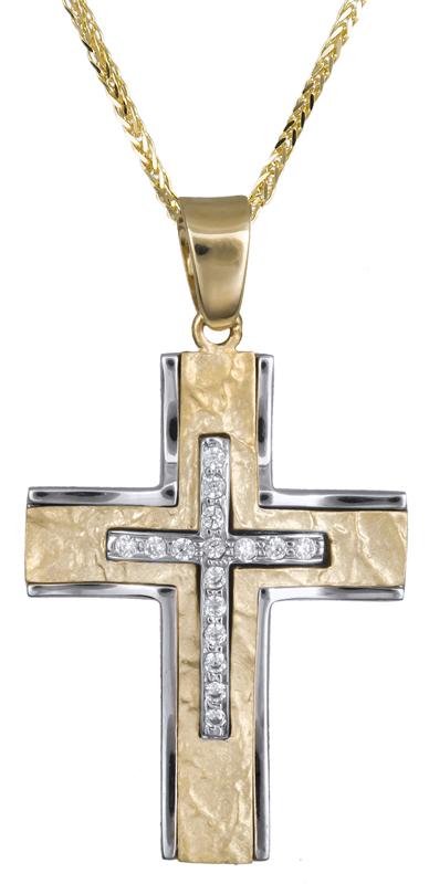 Βαπτιστικοί Σταυροί με Αλυσίδα Γυναικείος σταυρός δίχρωμος με πέτρες ζιργκόν C017857 017857C Γυναικείο Χρυσός 14 Καράτια