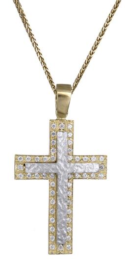 Βαπτιστικοί Σταυροί με Αλυσίδα Σταυρός γυναικείος δίχρωμος 14Κ C018081 018081C Γυναικείο Χρυσός 14 Καράτια