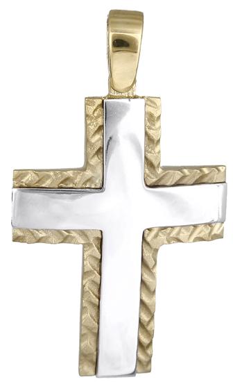 Σταυροί Βάπτισης - Αρραβώνα Δίχρωμος σταυρός 14Κ 018084 018084 Ανδρικό Χρυσός 14 Καράτια