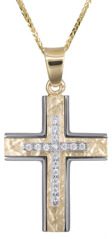 Βαπτιστικοί Σταυροί με Αλυσίδα Σταυρός για κορίτσι 14Κ c018163 018163C Γυναικείο Χρυσός 14 Καράτια