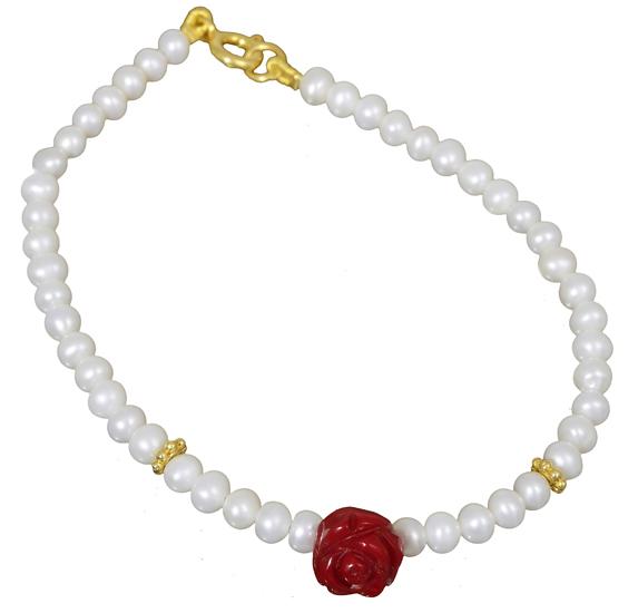 Βραχιόλι με κοραλλένιο τριαντάφυλλο 018263 018263 Ασήμι