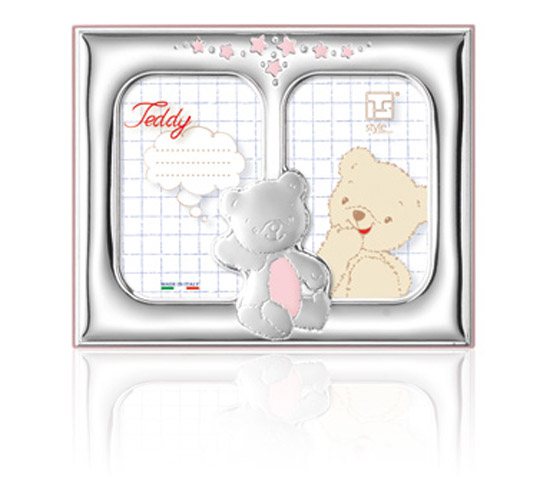 Παιδική κορνίζα διπλή για κορίτσι 018472 018472 Ασήμι προτάσεις δώρου ασημένιες κορνίζες