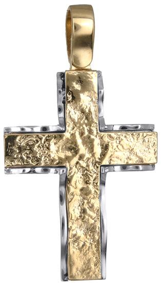 Σταυροί Βάπτισης - Αρραβώνα Δίχρωμος σταυρός 18Κ 018539 018539 Ανδρικό Χρυσός 18 Καράτια
