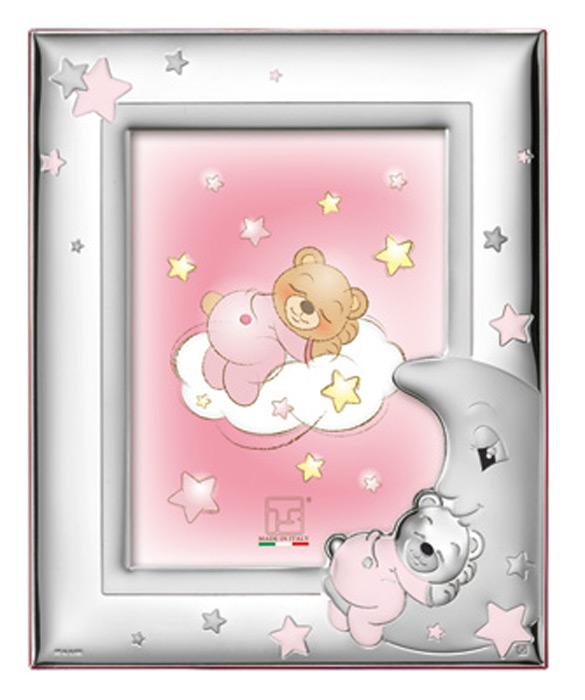 Ασημένια παιδική κορνίζα ροζ 019679 019679 Ασήμι