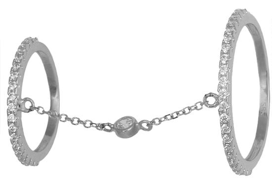 Λευκόχρυσο δαχτυλίδι διπλό 14K 0018984 018984 Χρυσός 14 Καράτια