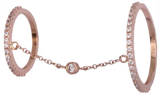 Ροζ gold δαχτυλίδι διπλό 14K 018985 018985 Χρυσός 14 Καράτια