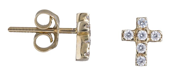 Χρυσά σκουλαρίκια σταυρός Κ14 019138 019138 Χρυσός 14 Καράτια