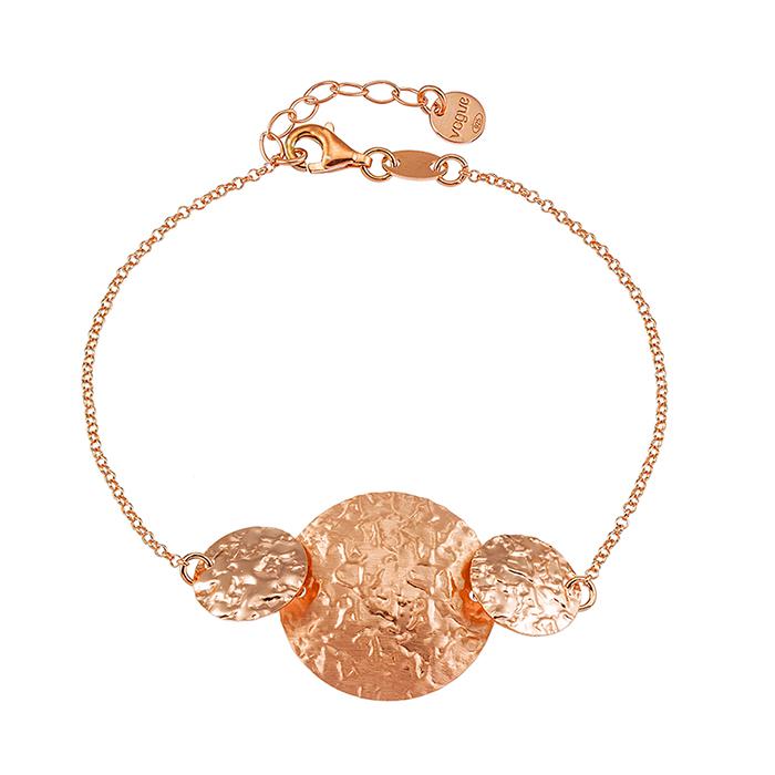 Ροζ επίχρυσο βραχιόλι 925 Vogue με σφυρήλατους κύκλους 0101312 0101312 Ασήμι
