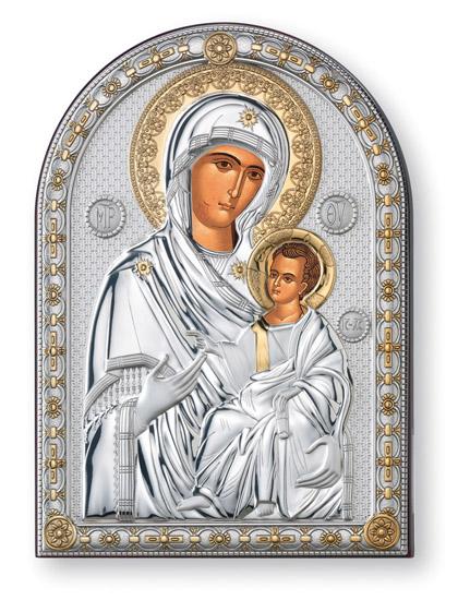 Ασημένια Εικόνα Παναγία η Πορταΐτισσα 018489 018489 Ασήμι προτάσεις δώρου ασημένιες εικόνες