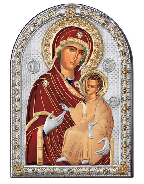 Ασημένια εικόνα 925 -Παναγία Πορταΐτισσα- 019656 019656 Ασήμι προτάσεις δώρου ασημένιες εικόνες