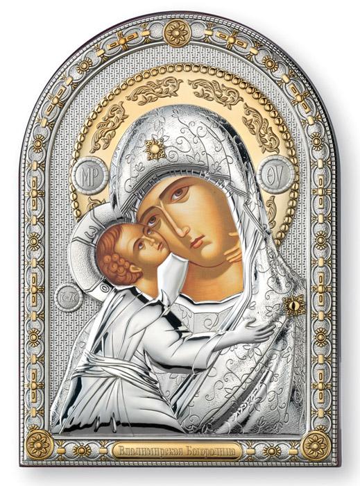 Ασημένια εικόνα τοίχου -Παναγία του Βλαδιμήρου- 019654 019654 Ασήμι προτάσεις δώρου ασημένιες εικόνες