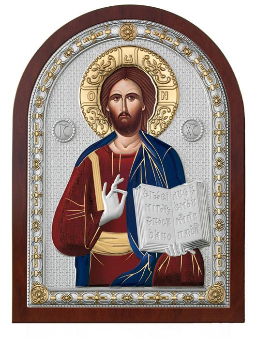 Ασημένια εικόνα -Χριστός Ευλογών- έγχρωμη 019663 019663 Ασήμι