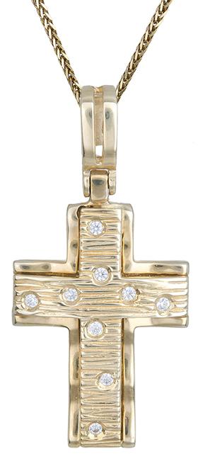 Βαπτιστικοί Σταυροί με Αλυσίδα Γυναικείος σταυρός C002263 002263C Γυναικείο Χρυσός 14 Καράτια