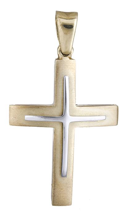 Σταυροί Βάπτισης - Αρραβώνα Σταυρός δίχρωμος 14Κ 002512 002512 Ανδρικό Χρυσός 14 Καράτια