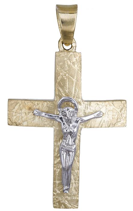 Σταυροί Βάπτισης - Αρραβώνα Δίχρωμος Αντρικός Σταυρός από Χρυσό 9K 014849 014849 Ανδρικό Χρυσός 9 Καράτια