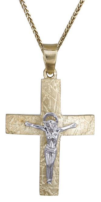 Βαπτιστικοί Σταυροί με Αλυσίδα Αντρικός σταυρός με Εσταυρωμένο Κ9 C014849 014849C Ανδρικό Χρυσός 9 Καράτια