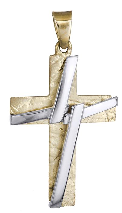 Σταυροί Βάπτισης - Αρραβώνα Δίχρωμος σταυρός 9 καράτια 012483 012483 Ανδρικό Χρυσός 9 Καράτια