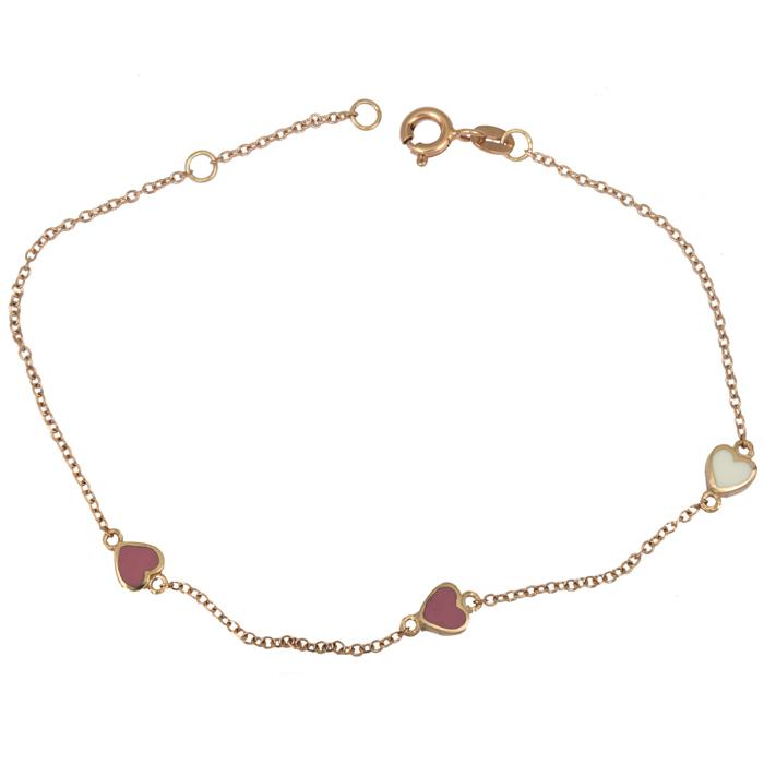 Ροζ gold βραχιόλι με καρδούλες 9Κ 025336 025336 Χρυσός 9 Καράτια