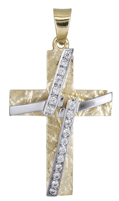 Σταυροί Βάπτισης - Αρραβώνα Δίχρωμος σταυρός 9 καράτια 012659 012659 Γυναικείο Χρυσός 9 Καράτια