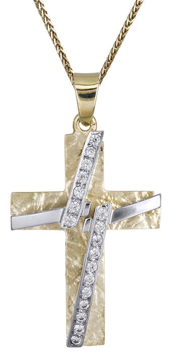Βαπτιστικοί Σταυροί με Αλυσίδα ΔΙΧΡΩΜΟΣ ΣΤΑΥΡΟΣ Κ14 ΠΕΤΡΑΤΟΣ ΜΕ ΑΛΥΣΙΔΑ 002554C Γυναικείο Χρυσός 14 Καράτια