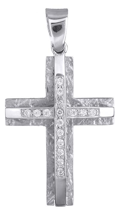 Σταυροί Βάπτισης - Αρραβώνα Λευκόχρυσος σταυρός 14Κ 002556 002556 Γυναικείο Χρυσός 14 Καράτια
