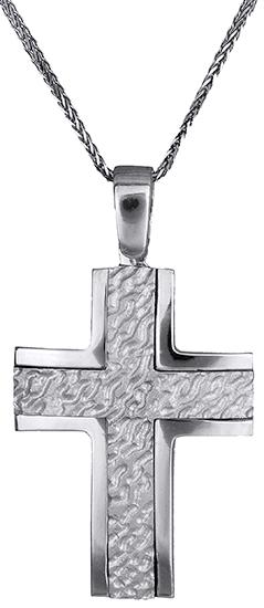 Βαπτιστικοί Σταυροί με Αλυσίδα Ανδρικός σταυρός Κ14 C002570 002570C Ανδρικό Χρυσός 14 Καράτια