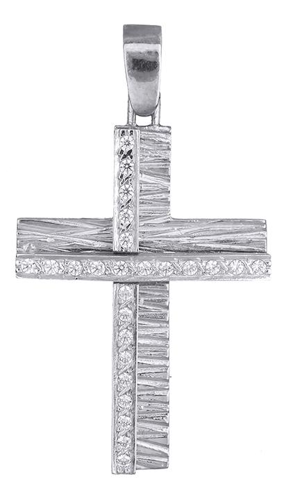 Σταυροί Βάπτισης - Αρραβώνα Λευκόχρυσος σταυρός 14Κ 002571 002571 Γυναικείο Χρυσός 14 Καράτια