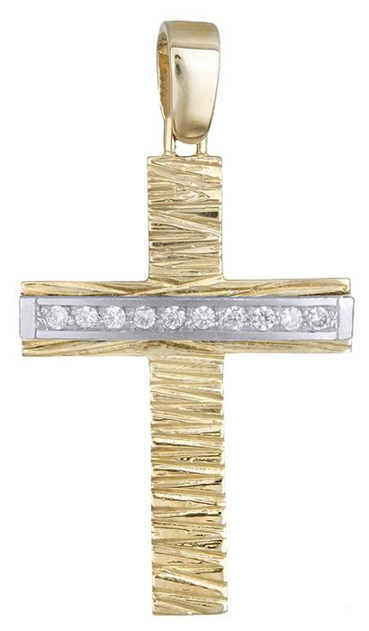 Σταυροί Βάπτισης - Αρραβώνα Δίχρωμος σταυρός 14 καράτια 002613 002613 Γυναικείο Χρυσός 14 Καράτια